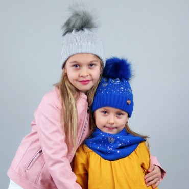 fancy hat and scarf of rhinestone hearts and large pompon in eco-fur - electric blue