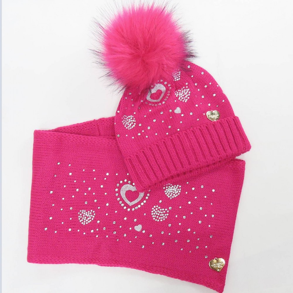fancy hat and scarf of rhinestone hearts and large pompon in faux fur - fuchsia pink