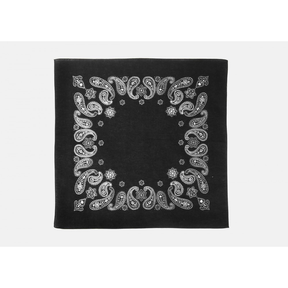 Model - Paisley - black cotton bandana with cashmere and flowers print