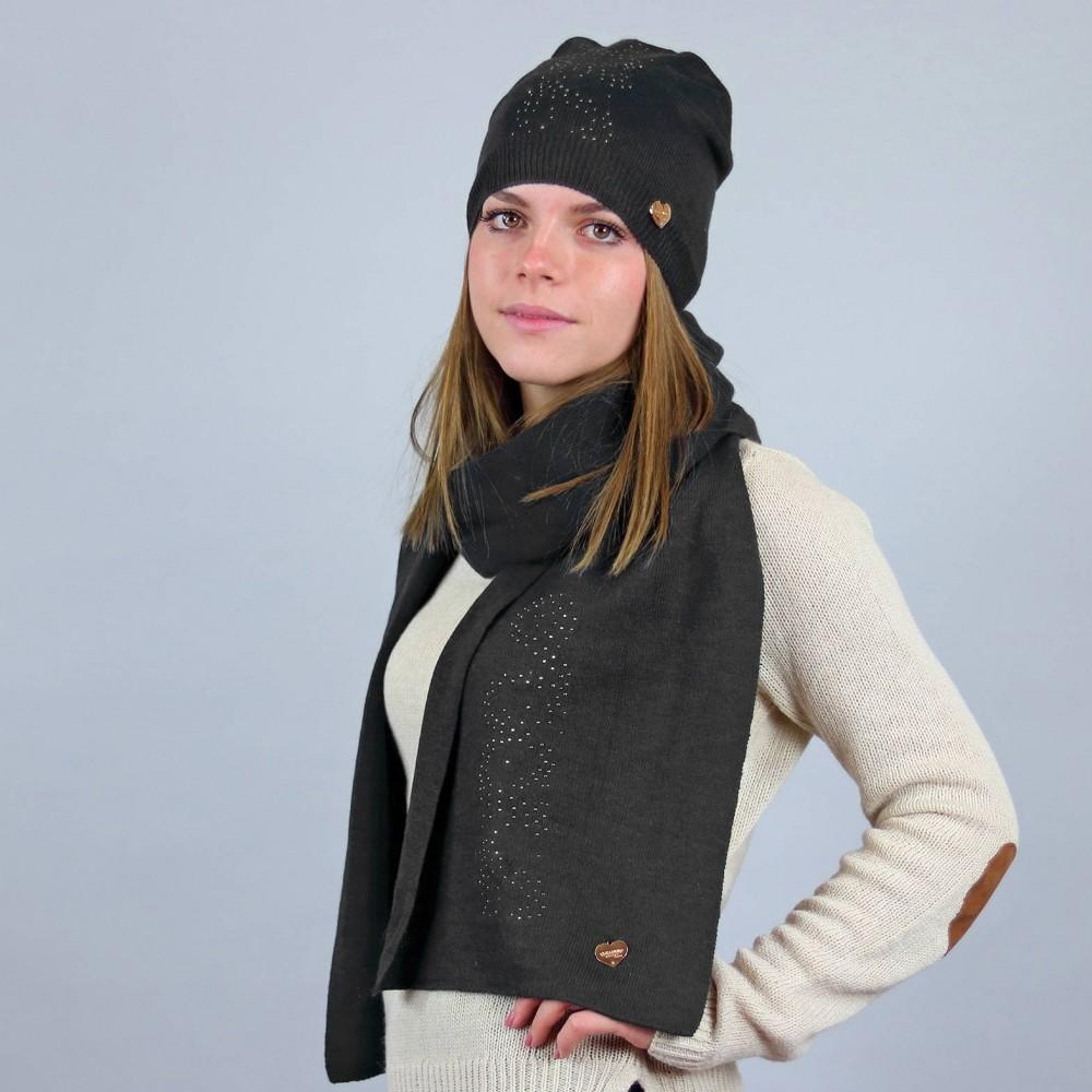 Cappello e sciarpa donna onde di strass
