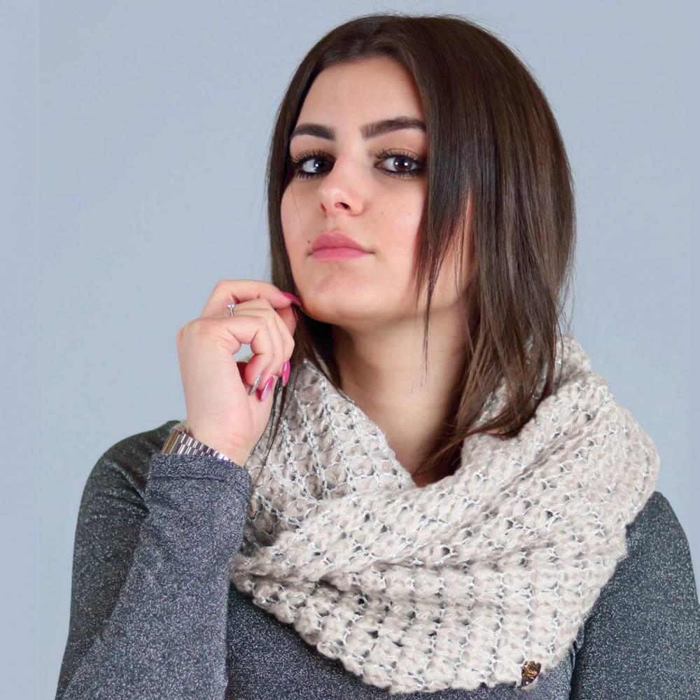 Lurex mesh ring scarf nature