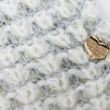 Sciarpa ad anello a rete di lurex - panna dettaglio
