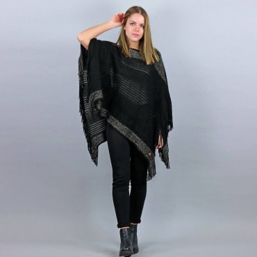 Poncho with gold lurex bands and fringes black