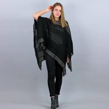 Poncho da donna con fasce di lurex oro e frange nero