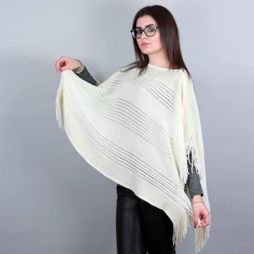 Poncho with gold lurex bands and fringes nature
