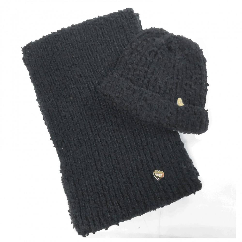 Cappello e sciarpa bouclé nero