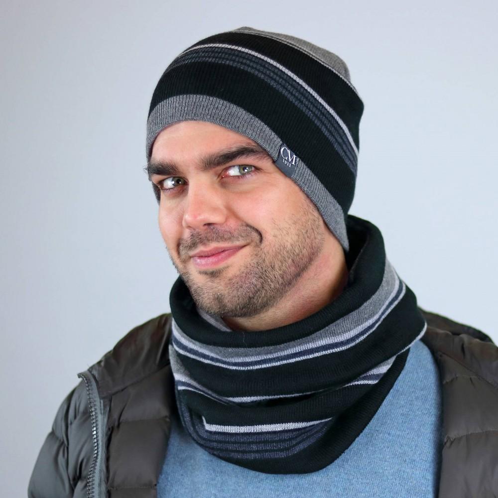 Cappello e scaldacollo a righe