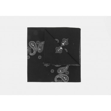 Detail - Paisley - black cotton bandana with cashmere and flowers print