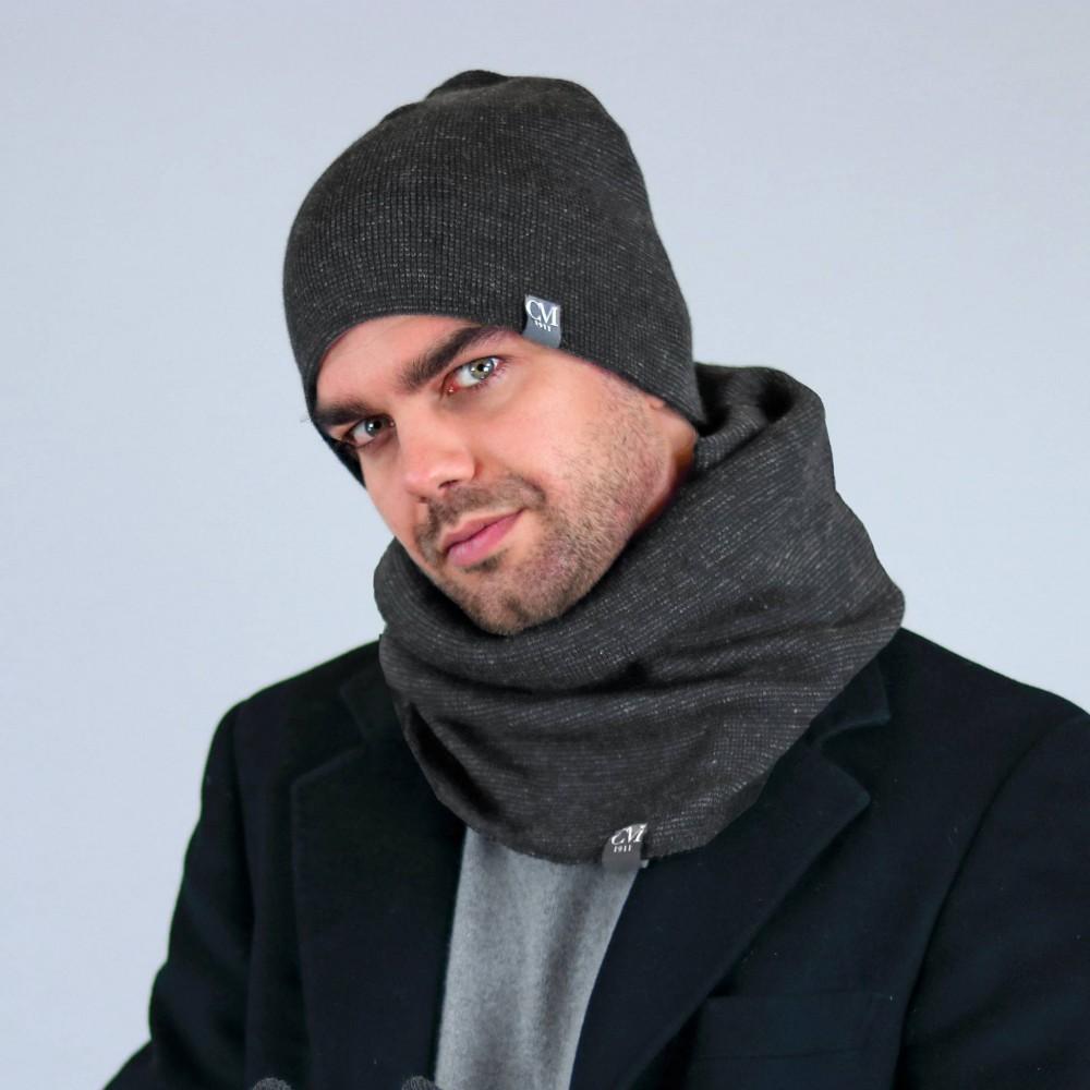 Cappello e scaldacollo grigio a micro-righe