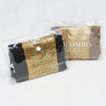 Sciarpa con inserto in paillettes oro in pochette regalo