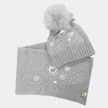Hat and scarf with rhinestone hearts and gray faux fur pompom