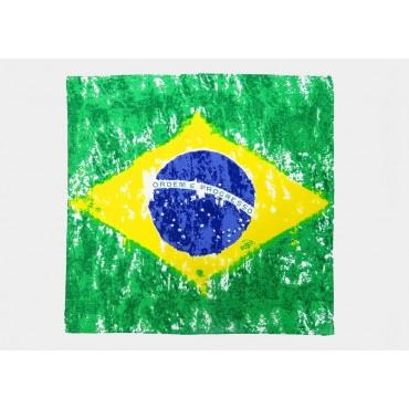 Modello - Brasil - bandana di cotone con bandiera brasiliana vintage stampata