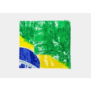 Dettaglio - Brasil - bandana di cotone con bandiera brasiliana vintage stampata