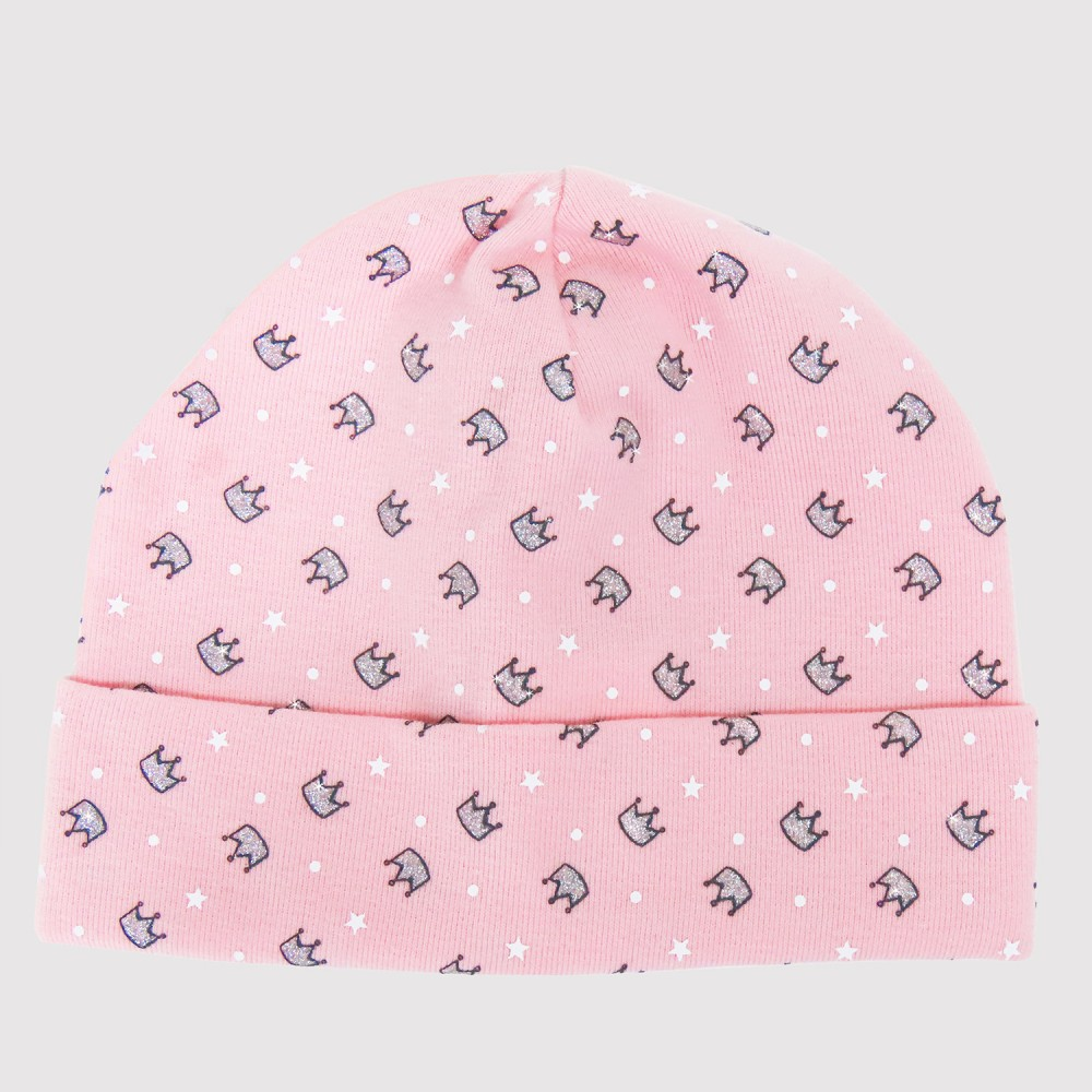 Princess pink - baby girl hat in glitter print cotton - 6M / 1A