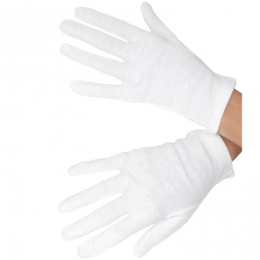 Pack of 3 pairs of white cotton gloves