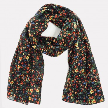 Floral cotton scarf with see-through clutch bag