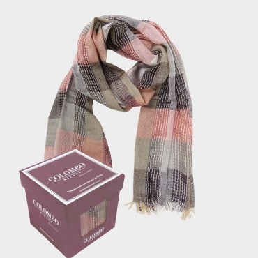 Warm colored viscose scarf with gold lurex - in Gift box