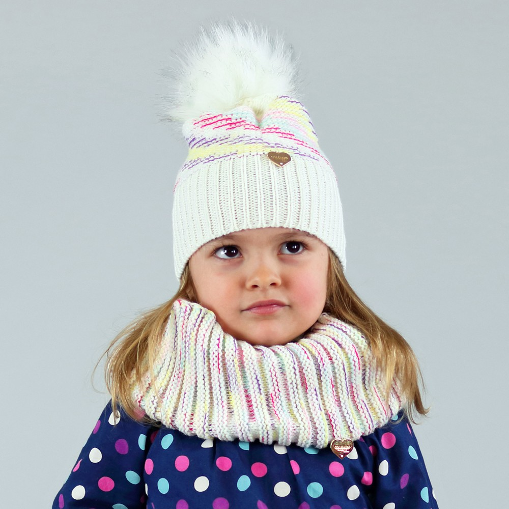 Baby girl set with faux fur pompom and multi-colored yarn - 2/6ys