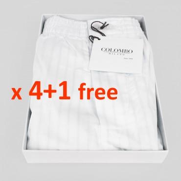 Pack da 4+1 omaggio - Boxer in popeline bianchi con righe di raso