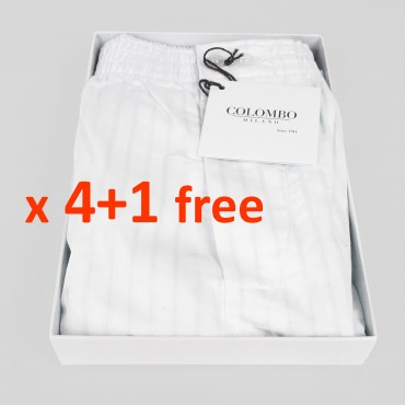 Pack of 4+1 FREE-Men's boxer shorts white poplin with satin stripes