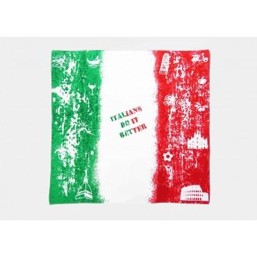 Modello - Italia - bandana di cotone con bandiera italiana vintage stampata