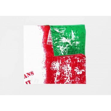 Dettaglio - Italia - bandana di cotone con bandiera italiana vintage stampata