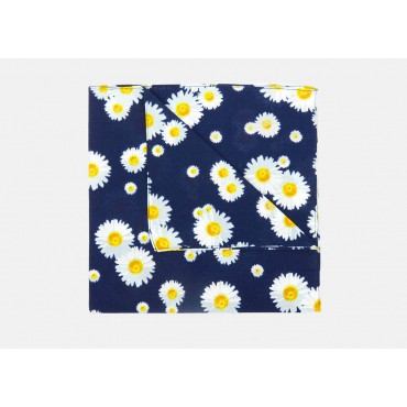 Detail - Daisies - cotton bandana with daisies stamp on a midnight blue background