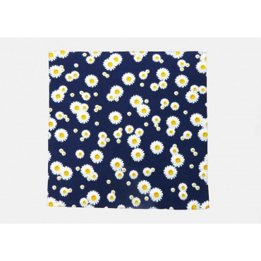 Model - Daisies - cotton bandana with daisies printed on a midnight blue background