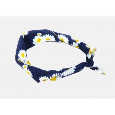 Arrotolata - Margherite - bandana di cotone con margherite stampate su fondo blu notte