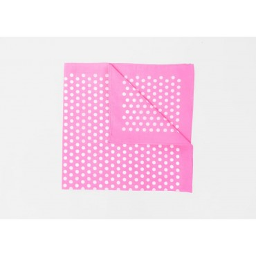 Detail - pink - Polka dot pastel color bandana in breathable pure cotton.
