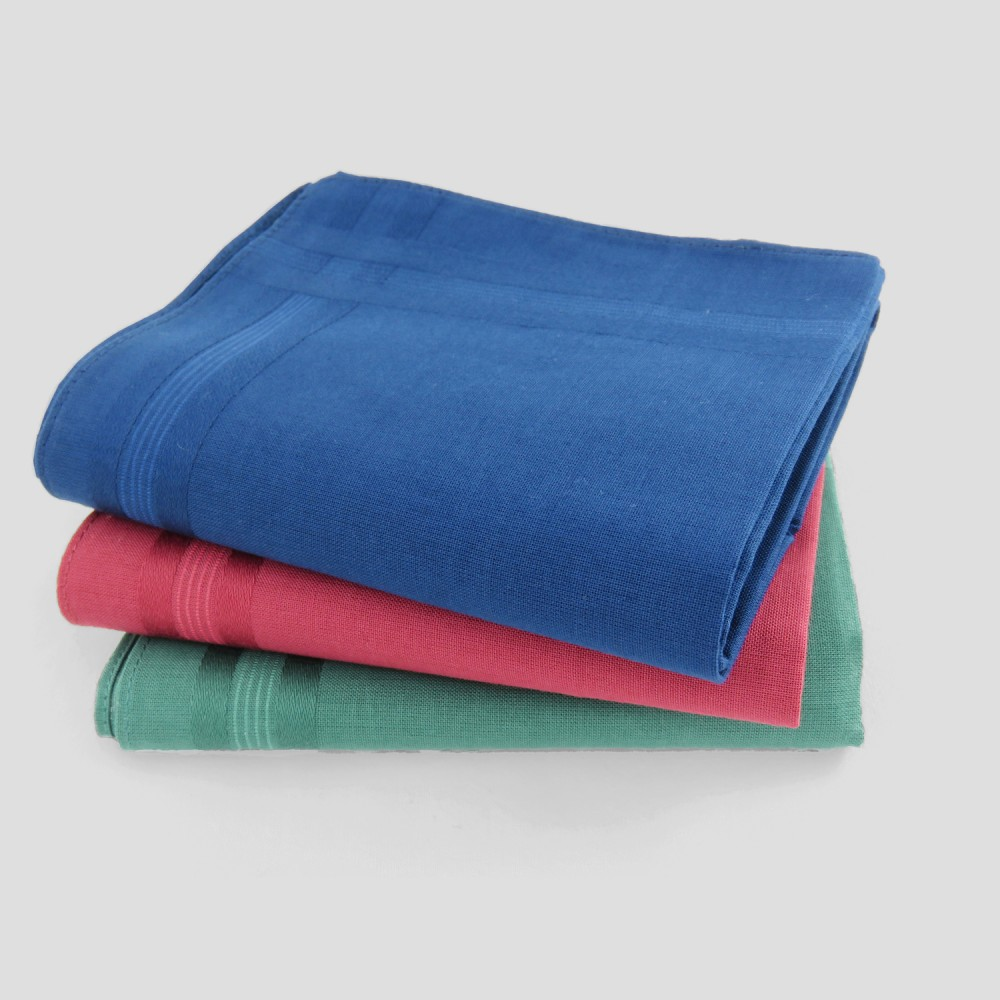 Pastello - solid color handkerchiefs in 3 different dark colors with satin stripes.