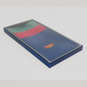 Pastello - solid color handkerchiefs in 3 different dark colors with satin stripes - side box