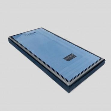 Scatola laterale - Pastello - fazzoletti di cotone da uomo tinta unita azzurro scuro.