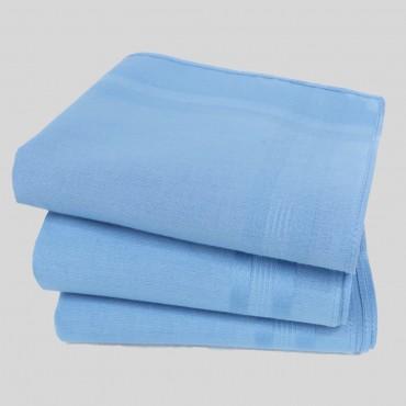 Varianti - Pastello - fazzoletti di cotone da uomo tinta unita azzurro scuro.