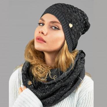 antracite - Set donna cappello e sciarpa lavorati a trecce con lurex modella