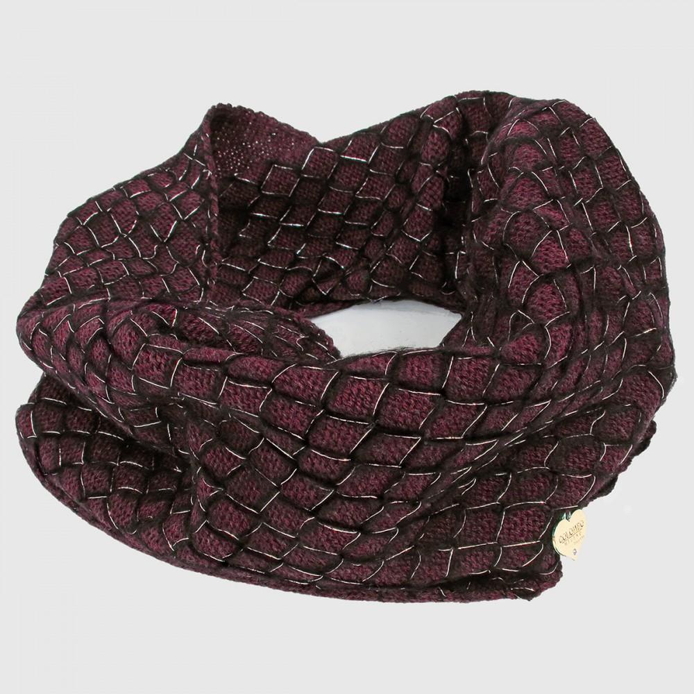 Burgundy - sciarpa ad anello da donna lavorata a rete