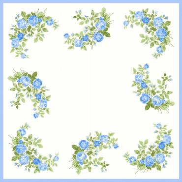 variante blu Virginia - fazzoletti di cotone da donna con fantasia di rose.
