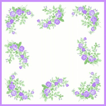 variante lilla Virginia - fazzoletti di cotone da donna con fantasia di rose.