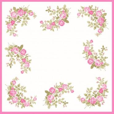 variante rosa Virginia - fazzoletti di cotone da donna con fantasia di rose.