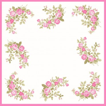 Virginia pink detail - handkerchiefs with roses pattern