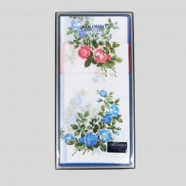 Scatola fronte - Virginia - fazzoletti di cotone da donna con fantasia di rose