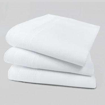 Oxford des. 4 - dozen white men's handkerchiefs with thin satin stripes- folded hankerchiefs