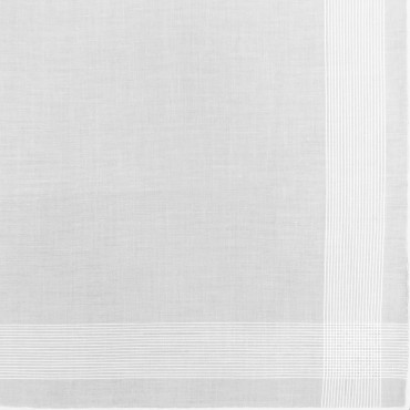 Oxford des. 4 - dozen white men's handkerchiefs with thin satin stripes- design