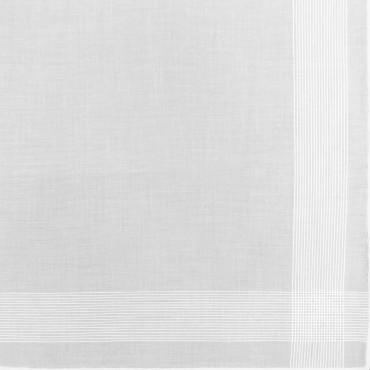Disegno Oxford dis. 4 - fazzoletto di cotone bianco da uomo con incrocio di righe fini di raso e Orlo Roulè
