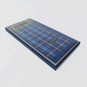Scozia - checkered handkerchiefs with warm colored stripes side box