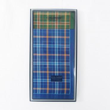 Scozia - checkered handkerchiefs with warm colored stripes - box