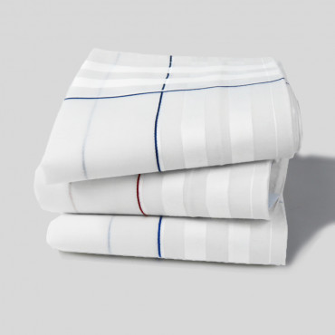 Sangallo variants - men's cotton hand hem handkerchiefs with intersections of thick satin stripes and colored stripes.