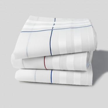 Sangallo varianti- fazzoletti di cotone da uomo con incroci di spesse righe di raso e righe colorate e Orlo a Mano
