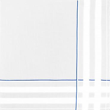 Sangallo azzurro - fazzoletti di cotone da uomo con incroci di spesse righe di raso e righe colorate e Orlo a Mano