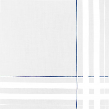 Sangallo blue - men's cotton hand hem handkerchiefs with intersections of thick satin stripes and colored stripes.